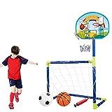 Goshfun 90CM Portable Soccer Goal Toy Set, 2-in-1 Basketball Backboard Football Goal Toy Kit for Kids