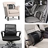 Lumbar Support, Yoheox Office Chair Car Back Support Breathable Mesh Lumbar Cushion With Elastic Strap Perfect For Lower Back Pain Relief,Black