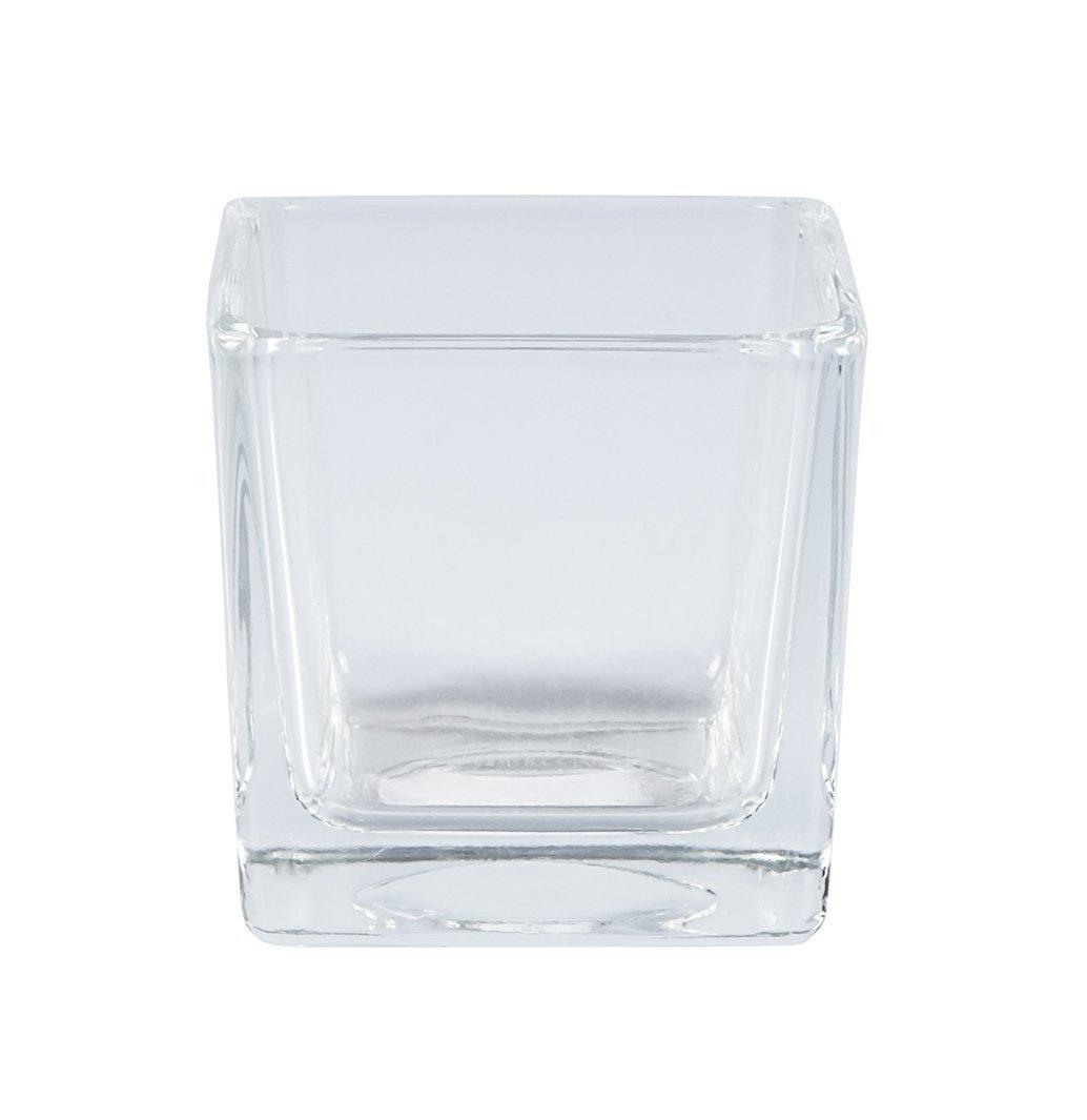 takestop/® Vaso CUBO CUBICO 10x10x10 CM Cristallo Trasparente Vetro Candela Candele Confetti CONFETTATA PORTAFIORI PORTAPIANTA Porta Fiori