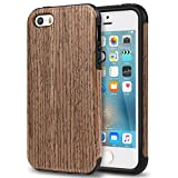 TENDLIN iPhone SE Case Wood Veneer Flexible TPU Silicone Hybrid Good Protection Case for iPhone SE and iPhone 5S 5 (Black Rose)