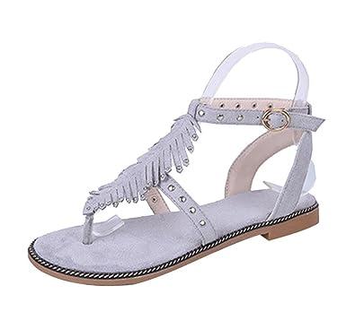 CHENYANG Damen Runde Clip Toe T-Strap Low Flache Heel Sandalen Sommer Strand Post Flip Flops Flache Schuhe Grau 38 bt2rO
