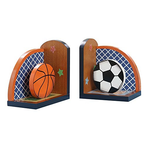 Fantasy Fields Lil' Sports Fan Thematic Set of 2 Wooden Bookends for Kids   Imagination Inspiring Hand Crafted & Hand Painted Details   Non-Toxic, Lead Free Water-based Paint