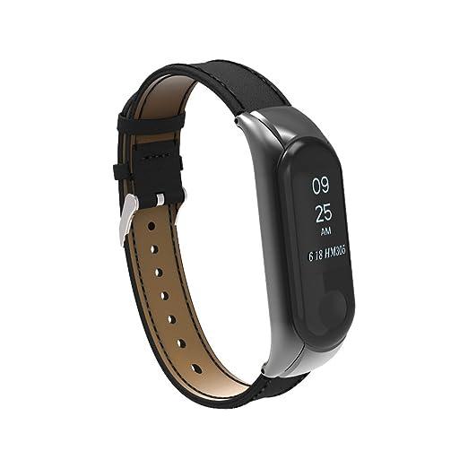 Muñequera para Xiaomi Mi Band 3, Pulsera de Repuesto de Cuero Genuino Guangmaoxin, Accesorios para Correa de Reloj, Reloj Inteligente Pulsera (Negro): ...
