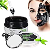 LuckyFine Charcoal Purifying Peel off Mask - Black Mask - Blackhead Remover Mask - Purifying Deep Cleansing Facial Mask - Pore & Acne Treatment Mask, Oil Control + Mirror & Spoon