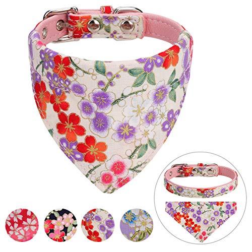 Vaburs Dog Collar and Dog Bandana, Pet Collar Fancy Dog Collar with Bandana for Small Medium and Large Dogs Adjustable(M-Pink)