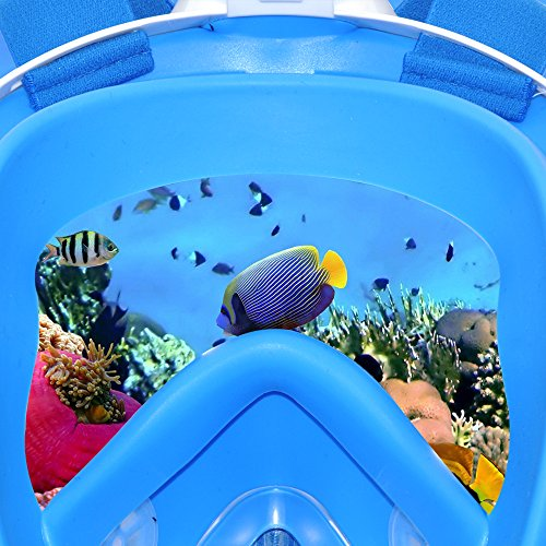 EXPLOMOS Snorkel Mask, Diving Snorkeling Mask with Gopro Mount 180° Full Face Panoramic View Anti-Fog Anti-Leak Easybreath Dry Snorkeling Scuba Dive Equipment Safety for Adults Youth Kids