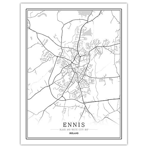 Black and White map of The Creative Cities of EuropeIrelandThe Capital and -