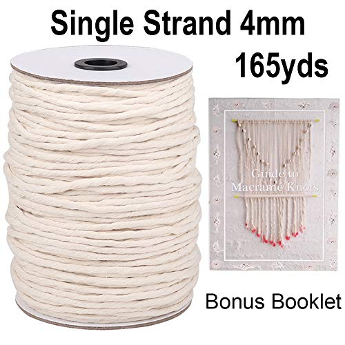XKDOUS Macrame Cord 4mm x 165Yards, Single Strand Natural Cotton Macrame Rope, Cotton Cord for Wall Hanging, Plant Hangers, Crafts, Knitting, Decorative Projects, Soft Undyed Cotton Rope