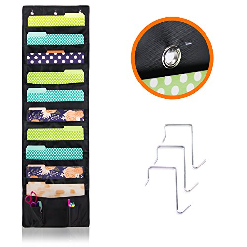 Over The Wall/Door Hanging File/Folder Organizer For Office, Home, Classroom – 10 Large Deep Pockets For Keeping All Your Files Neatly And 2 Small Pockets For Accessories – Best Storage Pocket Chart (Unit Single Storage Not)