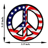 Peace Love America Flag Star Symbol Sign Happiness Logo Iron-on Patch Embroidered Sew T-shirt Hat