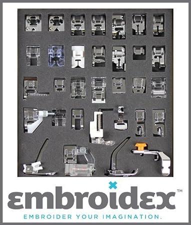 EMBROIDEX - COLECCIîN DE 32 PIES PRENSATELAS PARA MAQUINAS DE COSER FAMILIAR