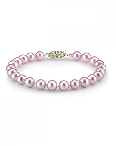 THE PEARL SOURCE 14K Gold 9-10mm AAA Quality Round Pink Freshwater Cultured Pearl Bracelet for Women