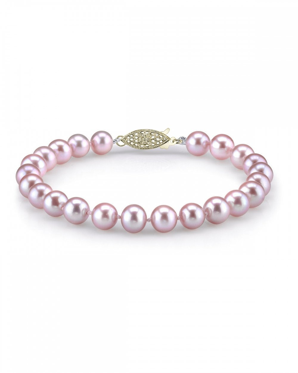 THE PEARL SOURCE 14K Gold 7-8mm AAA Quality Round Pink Freshwater Cultured Pearl Bracelet for Women