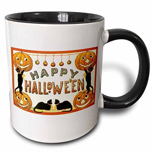 (3dRose 126122_4 Vintage Happy Halloween Jack O Lanterns and Black Cats Ceramic Mug 11 oz)