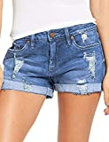 luvamia Women's Ripped Denim Jean Shorts Mid Rise Stretchy Folded Hem Short Jeans N-Blue Size XX-Large