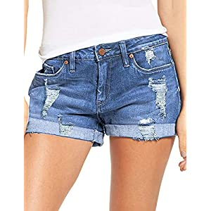 luvamia Women's Ripped Denim Jean Shorts Mid Rise Stretchy Folded Hem Short Jeans