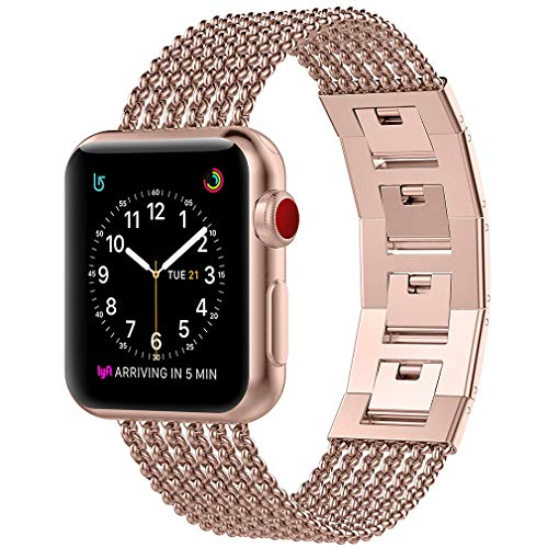 Glebo Compatible for Apple Watch Band 38mm Series 3 Gold, 40mm Series 4 Gold, Adjustable Stainless Steel Metal Bracelet Band Replacement Accessories for Apple i Watch Band 38mm 40mm, Gold