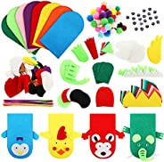 8 Pieces DIY Thick Felt Puppets Hand Puppet Craft Kit Felt Sock Puppet Hand Puppet Making Kit with Pompoms and