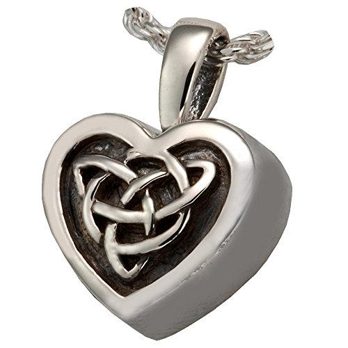 Memorial Gallery MG-3212wg Celtic Heart 14K Solid White Gold (Allow 4-5 Weeks) Cremation Pet Jewelry by Memorial Gallery