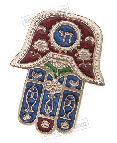 (Hamsa Red CHAI Hebrew MAGNET Israel Kabbalah Judaica Evil Eye Lucky Charm)