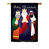 Cheap Breeze Decor – Feliz Navidad Winter – Seasonal Nativity Impressions Decorative Vertical House Flag 28″ x 40″