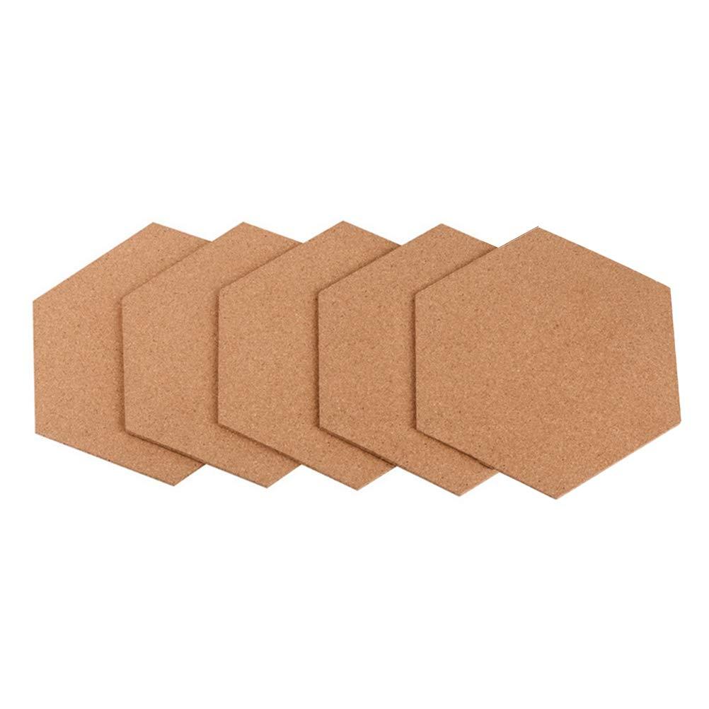 Yardwe Tablero de Goma Suave Hexagonal del Tablero del Corcho del Tablero de Goma 5PCS