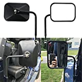 Doors off Mirrors 4x4 Doorless round mirrors for jeep wrangler Side Mirrors for Jeep Qucik Release Mirrors for Jeep TJ JK-JKU CJ JL -1 Pair, Textured Black