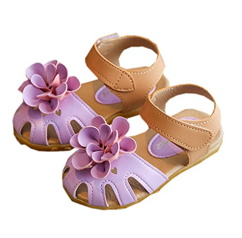 Vokamara Baby Toddler Girls Closed Toe Flower Beach Sandals Violet -