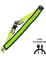 AGPTEK LED Reflektierender Gürtel USB aufladbare LED – Hohe Sichtbarkeit für Laufen Wandern Radfahren - Passend für Frauen, Männer und Kinder - Verstellbare und Leicht - sicherer als reflektierende