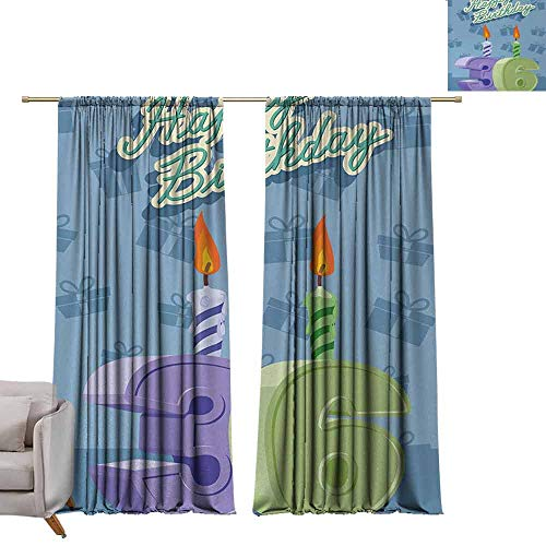 DuckBaby Novel Curtains 36th Birthday Birthday Party 36 Candles on Baby Blue Backdrop Image Art Print Simple Style W96 xL108 Light Green and Lilac