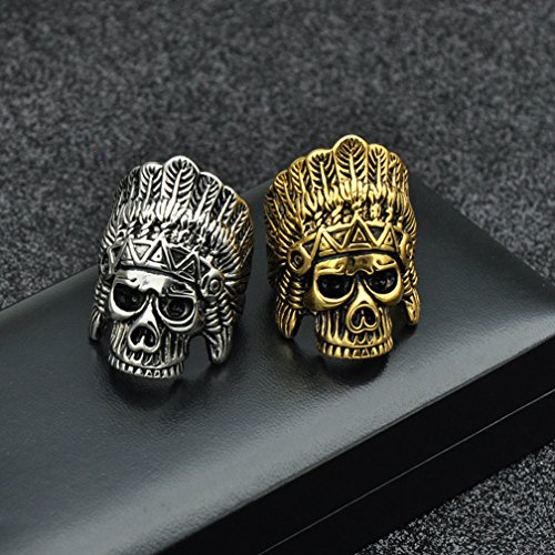 SAINTHERO Men's Vintage Stainless Steel Band Rings Gothic Indian Chief Skull Hip-hop Jewelry Punk Biker Rings Gold Black 12 by SAINTHERO (Image #5)