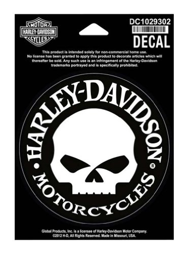 Harley Motorcycle Wheels (Harley-Davidson Small Hubcap Skull Decal, Motorcycle Biker. DC1029302)