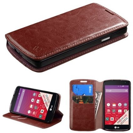 For Huawei Tribute 4G LTE Y536A1 / Huawei Fusion 3 Case (AT&T Go Phone), Magnet Wallet Flip Case With Kickstand (2 Credit Card Slots, 1 Cash Compartment) (BROWN EXECUTIVE LEATHER) (Covers For Huawei Y536a1 Phone)