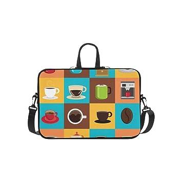 f281c106d2 Conception de café sur coloré Sacoche Ordinateur Portable Sac Messager  épaule Sac de Travail bandoulière Sac