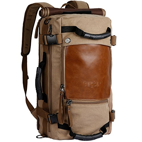 ibagbar Canvas Backpack Travel Bag Hiking Bag Camping Bag Rucksack Khaki Large