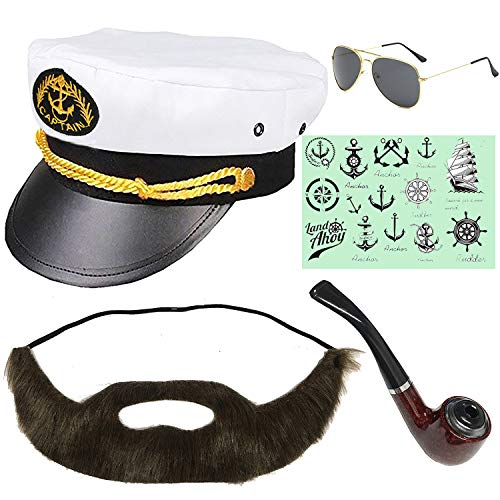 Yacht Captain & Sailor Costume Set - Hat,Corn Cob Pipe,Aviator Sunglasses,Vintage Anchor Temporary Tattoo (OneSize, C2-3)]()