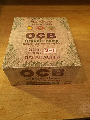 1 OCB Organic Hemp King Size Slim Cigarette Rolling Papers with Tips Pack (32 Rolling Papers & 32 Tips Per Pack) + Limited Beamer Smoke Sticker. For Legal Smoking Herbs, Rolling Tobacco, Herbal Mixes (E Liquid Hemp)