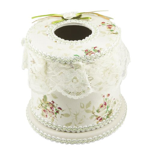 Flower Pattern Beige Fabric Coated Round Tissue Box Container