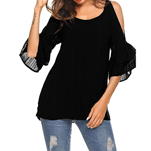 zahuihuiM Femmes Printemps Automne Nouvelle T-Shirt Plus La Taille O-Neck Flare Manches Demi Manches  L'paule Casual Solide Tops Blouses 2018 Nouveau Bleu