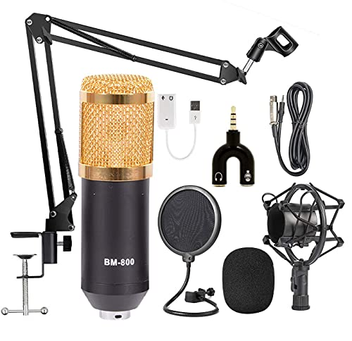 TECHTEST Professional Condenser Audio 3.5 mm Wired Bm800 Studio Microphone with Mic Stand for Computer Broadcasting and Nb-35 Adjustable Suspension Scissor Arm