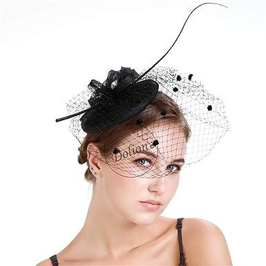 Women Fascinator Hair Clip Headband Feather Mesh Flower Cocktail Tea Party Headwear Wedding Royal Banquet