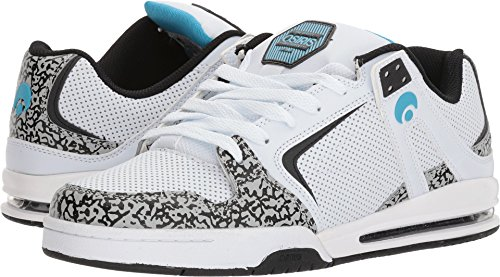 Osiris Men's PXL Skate Shoe, White/Cyan/Elephant, 7.5 M US