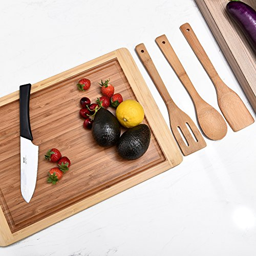 "Comllen Organic Bamboo Gift Set With 3-Piece Wooden Utensils and a 18"" x 13"" Bamboo Cutting Board"
