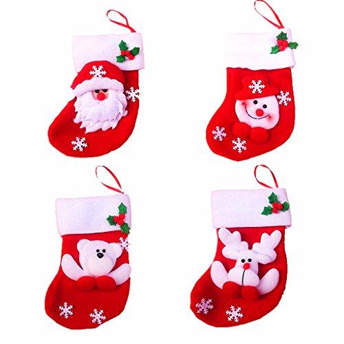 (Kinteshun Christmas Santa Stockings Tableware Holder Bag,Assorted Flannel Santa Gift Socks Hanging Accessories for Xmas Tree Decoration(4pcs,Small Size,6.7