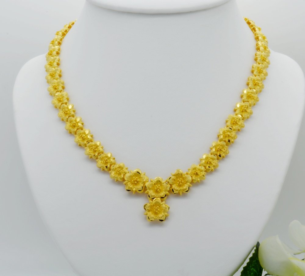 Gorgeous 22k 23k 24k Yellow Gold Plated Women Girl Necklace Pendant Choker Flower Snake Chain 17 Inches