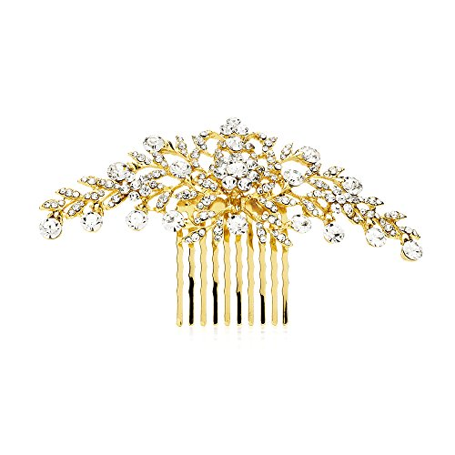 Mariell Glistening Gold and Clear Crystal Petals Bridal, Wedding or Prom Hair Comb Accessory