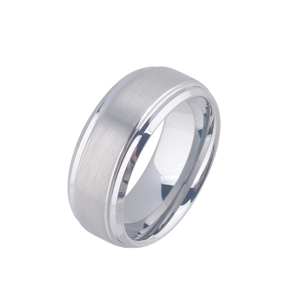 Siawase Men's Tungsten Wedding Ring 8mm Polished Beveled Edge Matte Brushed Finish Center Amazon: Beveled Edge Matte Wedding Ring At Reisefeber.org