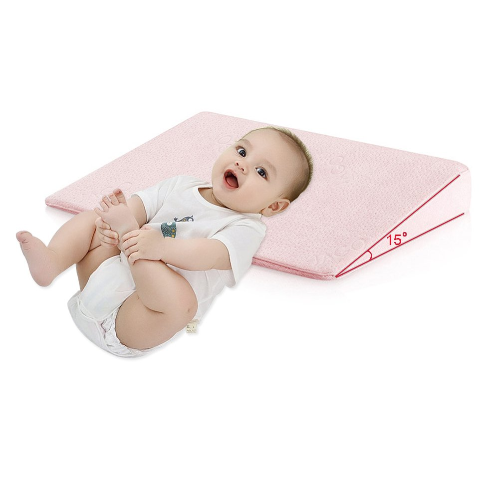 Qutool Crib Wedge Pillow Newborn Baby Universal Memory Foam Sleep Pillow Infant Reflux and Nasal Congestion Reducer Sleep Positioner for Baby Mattress Removable Cover Pregnancy Pillow Wedge (Pink)