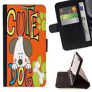 King Case - FOR Apple Iphone 4 / 4S - my dog is my baby - Prima caja de la PU billetera de cuero con ranuras para tarjetas, efectivo Compartimiento desmontable y correa para la mu?eca
