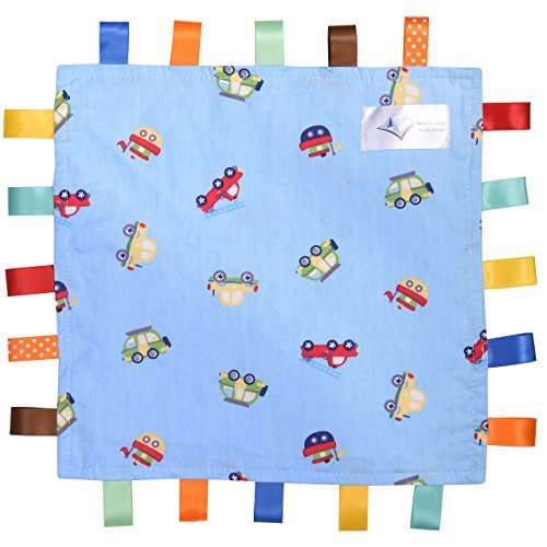 For the Love of Leisure Car Security Blanket - 12in x 12in 150 Thread Cotton Comforter with Tags. Multi Colored Vehicles Pattern - Blue